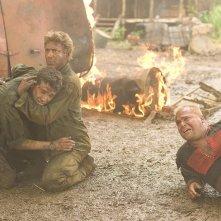 Jay Baruchel , Robert Downey Jr. e Jack Black in una sequenza del film Tropic Thunder