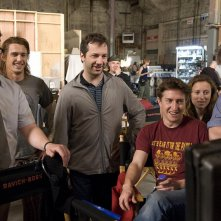 Seth Rogen, James Franco, Judd Apatow, David Gordon Green, Shauna Robertson ed Evan Goldberg sul set del film Strafumati