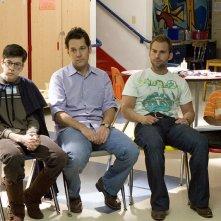 Christopher Mintz-Plasse, Paul Rudd, Seann William Scott e Bobb'e J. Thompson in una scena del film Role Models