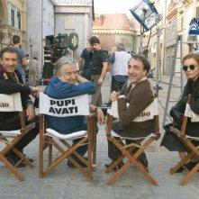 Ezio Greggio, il regista Pupi Avati, Silvio Orlando e Francesca Neri sul set del film Il papà di Giovanna.