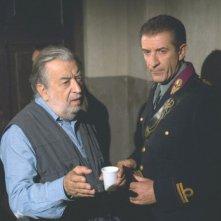 Il regista Pupi Avati ed Ezio Greggio sul set del film Il papà di Giovanna.