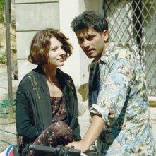 Paola Rinaldi e Peppe Zarbo sul set della soap-opera Un posto al Sole