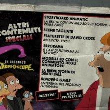 La schermata dei contenuti speciali del DVD Futurama - La bestia con un miliardo di schiene