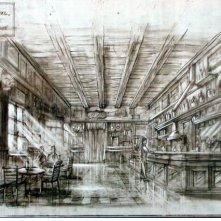 Bozzetto della scenografia di un bar anni 50 realizzato per il film I guardiani delle nuvole.