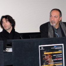 L'attore Francesco Venditti e il regista Enzo De Camillis alla Casa del Cinema in occasione della presentazione di due corti diretti dallo scenografo.