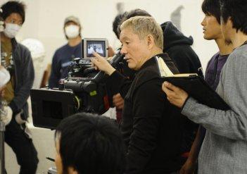 Takeshi Kitano sul set del film Achilles and the Tortoise