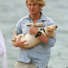 Marley cucciolo, tra le braccia del suo padrone John Grogan (interpretato da Owen Wilson)