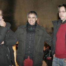 Massimiliano La Pegna tra Stefano Bolzoni e Pietro Lama sul set dello spot per Brio Blu Rocchetta