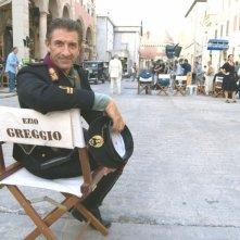 Ezio Greggio sul set del film Il papà di Giovanna, diretto da Pupi Avati