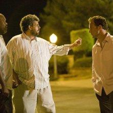 Samuel L. Jackson, il regista Neil LaBute e Patrick Wilson sul set del film La terrazza sul lago