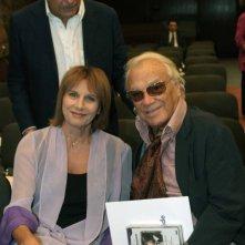 Alba Calia, Vicepresidente di Rai Trade, e l'attore Giorgio Albertazzi alla presentazione della collana 'I grandi sceneggiati della televisione italiana'