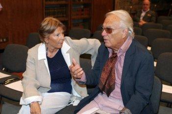 Paola Pitagora e Giorgio Albertazzi alla presentazione della collana 'I grandi sceneggiati della televisione italiana'