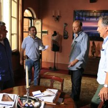 Tonino Loris Paroli, Gianfranco Pannone, Giovanni Fasanella e Paolo Rozzi sul set del documentario Il sol dell'avvenire