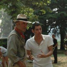 Ivano Marescotti sul set del cortometraggio Il mio ultimo giorno di guerra accanto al regista Matteo Tondini