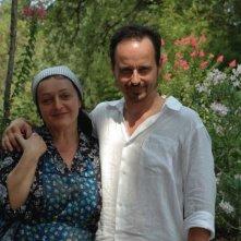 Marco Tondini insieme all'attrice Valeria Liverani sul set del corto Il mio ultimo giorno di guerra