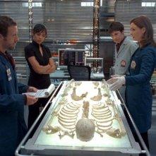 Tamara Taylor, T.J. Thyne e  Emily Deschanel in una scena dell'episodio 'The He in the She' della serie Bones