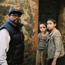 Spike Lee, Matteo Sciabordi e Leonardo Borzonaca sul set del film Miracolo a Sant'Anna