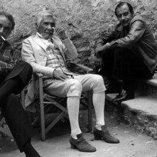 Arturo La Pegna, Paolo Stoppa e il regista Daniele D'anza sul set de L'Amaro caso della Baronessa di Carini 1975
