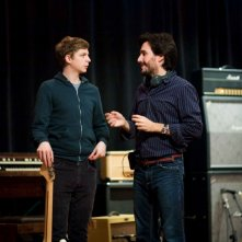 Michael Cera e il regista Peter Sollett sul set del film Nick and Norah's Infinite Playlist