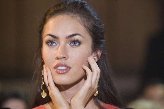 A close-up of Megan Fox, female protagonist of the film How to Lose Friends and Alienate People