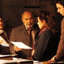 Il regista Marco Amenta, Gérard Jugnot, Veronica D'Agostino e Paolo Briguglia sul set del film La siciliana ribelle