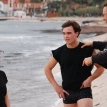 Veronica D'Agostino, Francesco Casisa e il regista Marco Amenta sul set del film La siciliana ribelle