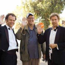 John C. Reilly, il regista Adam McKay e Will Ferrell sul set del film Fratellastri a 40 anni