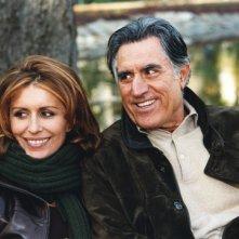 Caterina Vertova con Lando Buzzanca sul set del film tv Mio figlio