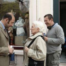 Kad Merad, Line Renaud e Dany Boon sul set del film Giù al nord