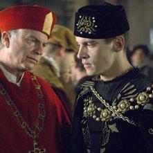 L'attore Jonathan Rhys Meyers nel ruolo di Enrico VIII nella seconda stagione della serie televisiva I Tudors - Scandali a corte
