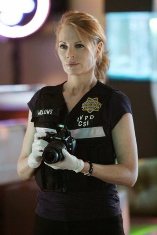 Marg Helgenberger in una scena dell'episodio 'Let it bleed' della nona stagione di CSI Las Vegas