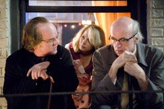 Philip Seymour Hoffman, Michelle Williams e Tom Noonan in una scena del film Synecdcoche, New York