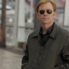 David Caruso (Horatio Caine) durante una pausa delle riprese di CSI Miami nell'episodio Internal affairs
