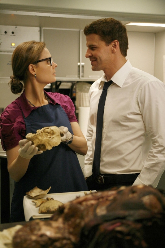 Emily Deschanel E David Boreanaz In Un Momento Dell Episodio The Passenger In The Oven Della Serie Tv Bones 95035