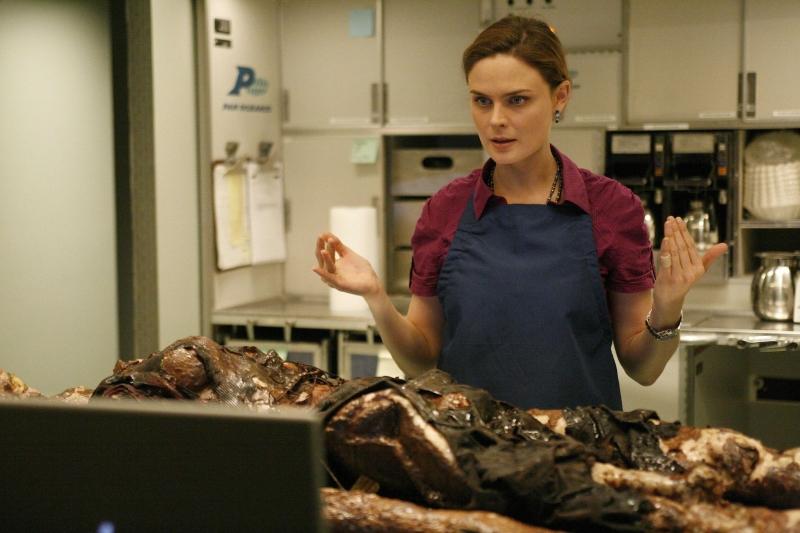 Emily Deschanel Esamina Il Corpo Ritrovato Nel Forno Nell Episodio The Passenger In The Oven Della Serie Tv Bones 95033