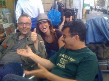 Luca Miniero, Cristiana Farina e Paolo Genovese sul set di Amiche mie