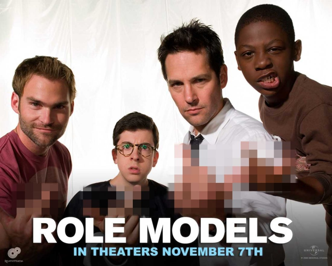 Un Wallpaper Del Film Role Models Con Seann William Scott Christopher Mintz Plasse Paul Rudd E Bobb E J Thompson 95190