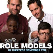 Un wallpaper del film Role Models con Seann William Scott, Paul Rudd, Christopher Mintz-Plasse e Bobb'e J. Thompson
