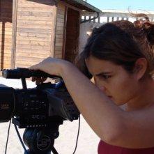 Consuelo Pascali durante le riprese del cortometraggio Il pelo nell'occhio
