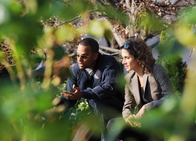 Melina Kanakaredes Con Hill Harper Durante Una Scena Dell Episodio My Name Is Mac Taylor Della Serie Tv Csi New York 96212