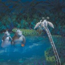 Melmann la giraffa interrompe un momento romantico tra gli ippopotami Gloria e Moto Moto in una scena del film Madagascar 2