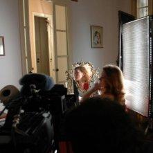 Alisa Bystrova sul set del film Se chiudi gli occhi