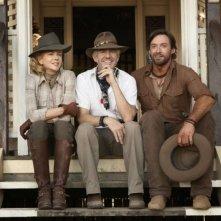 Nicole Kidman, il regista Baz Luhrmann e Hugh Jackman sul set del film Australia