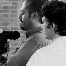 Il regista Attilio Azzola e il direttore della fotografia Valerio Ferrario sul set del film Diari