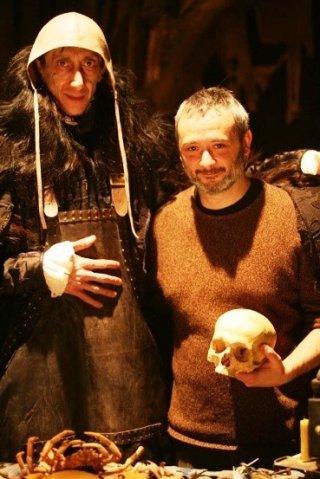 Franco Pistoni e il regista Stefano Bessoni sul set del film Imago Mortis