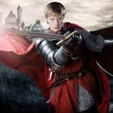 Bradley James in una immagine promozionale della serie Merlin