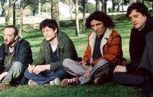 Andrea Sartoretti con Valerio Aprea, Carlo De Ruggieri e Massimo De Lorenzo in una scena della commedia Eccomi qua