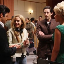 Jeffrey Wright, il regista Darnell Martin, Adrien Brody e Beyoncé Knowles sul set del film Cadillac Records