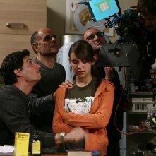 Riccardo Milani, Emilio Solfrizzi e Nicole Murgia sul set della serie Tutti pazzi per amore