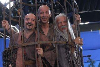 Giacomo, Aldo e Giovanni sul set del film Il cosmo sul comò